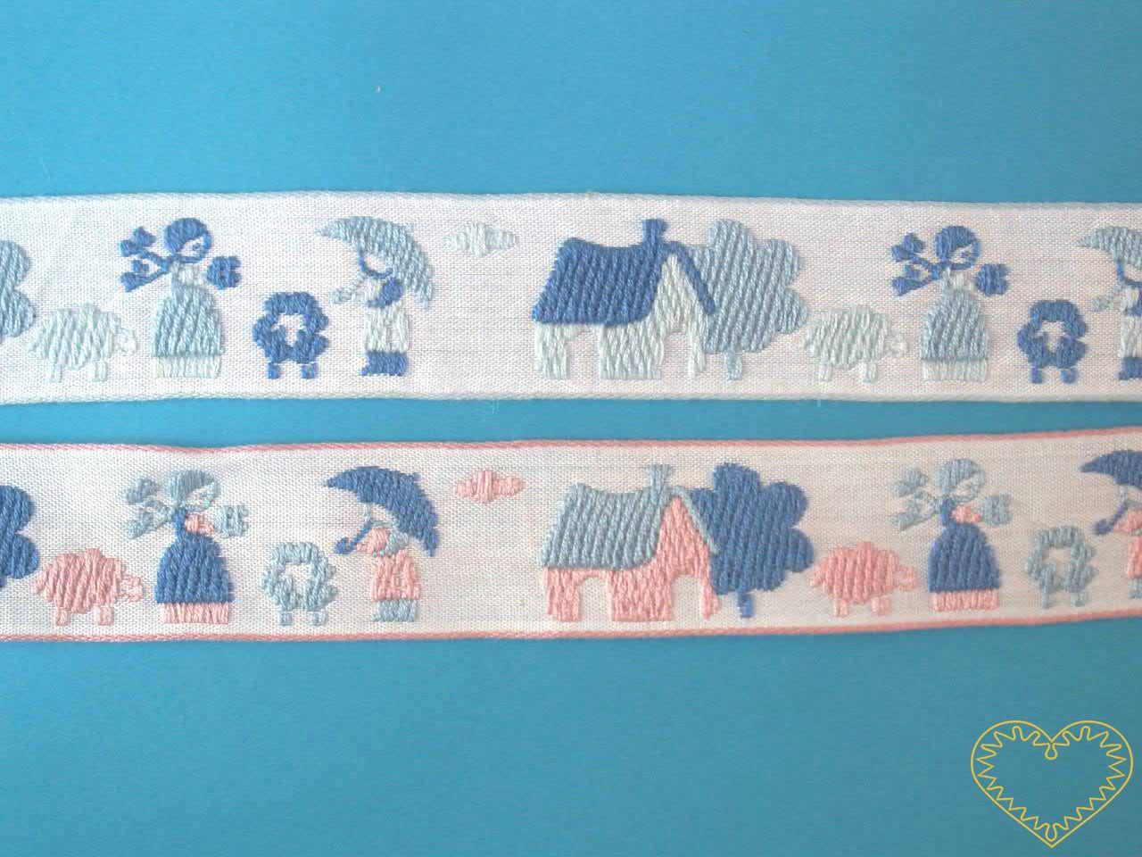 Tkaná stuha - život na statku - šíře 2,5 cm. Bílá dekorovaná stuha zobrazující děvče, chlapce s deštníkem, ovce, domeček a strom je dostupná ve dvou variantách.