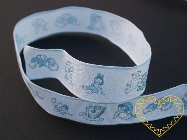 Modrá textilní adjustační stuha pro miminka, šíře 2,5 cm. K aranžování, dekorování, balení dárků u příležitosti narození dítěte, křtin apod.