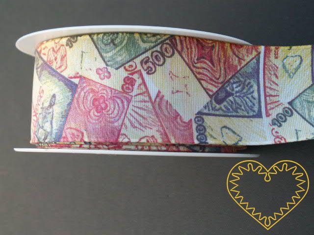 Textilní adjustační stuha pro milovníky peněz, šíře 4 cm. K aranžování, dekorování, balení dárků.