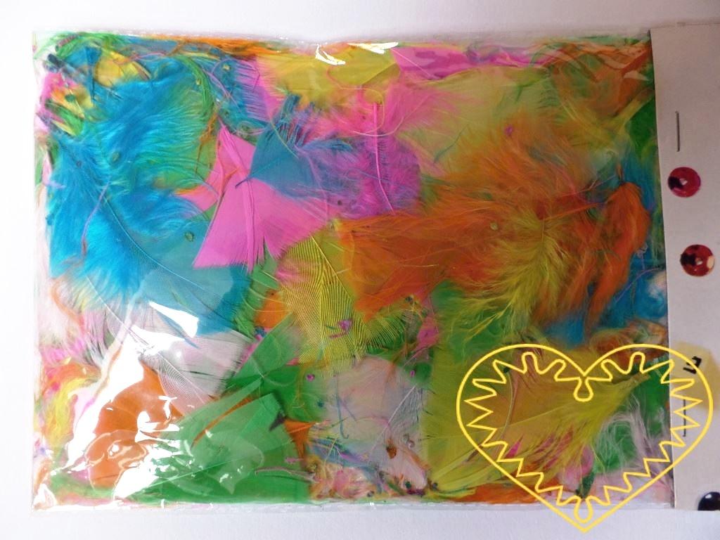 Barevné peří pastelové - balení 14 g. Peříčka mají široké uplatnění jak při aranžování a výrobě dekorací, tak také např. při tvoření figurek ptáčků, andělíčků apod.