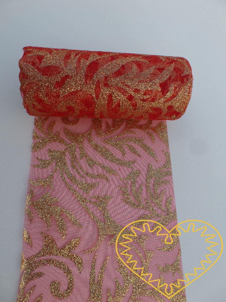 Červená organza se zlatým vzorem s glitrů - šíře 12 cm. Působí velmi slavnostním dojmem. Vhodná k dekorování, šití, aranžování, pro výzdobu slavnostní tabule, balení dárků, výrobu ozdob apod.
