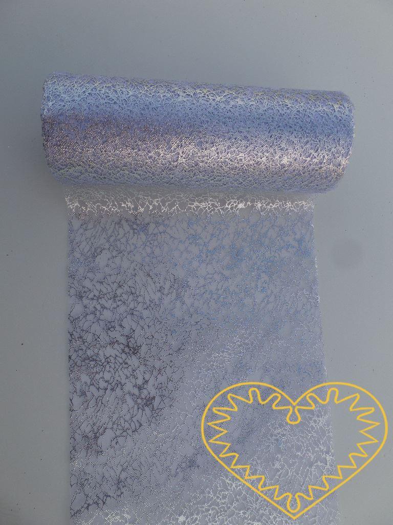Stříbrná organza mramor - šíře 12 cm. Má zajímavou mramorovanou strukturu. Vhodná k dekorování, šití, aranžování, pro výzdobu slavnostní tabule, balení dárků, výrobu ozdob apod.