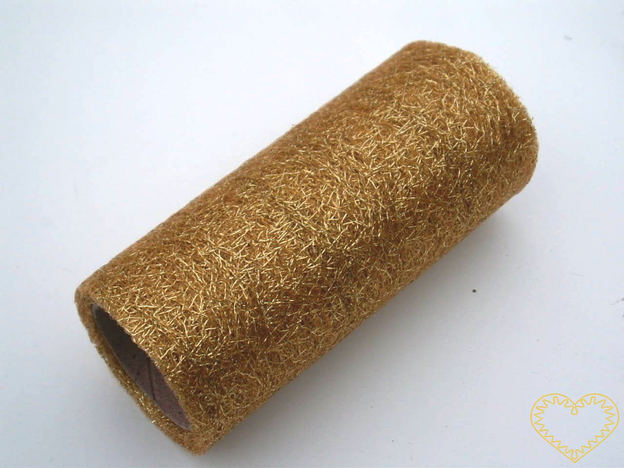 Zlatá pavučina - spider organza - šíře 12 cm, délka 4,57 m. Dekorační textilie je jemná látka, která vypadá jako pavučina. Díky svému lesku působí velmi slavnostně a elegantně. Velkou výhodou je, že se netřepí a snadno stříhá. Lze použít i na dekorac