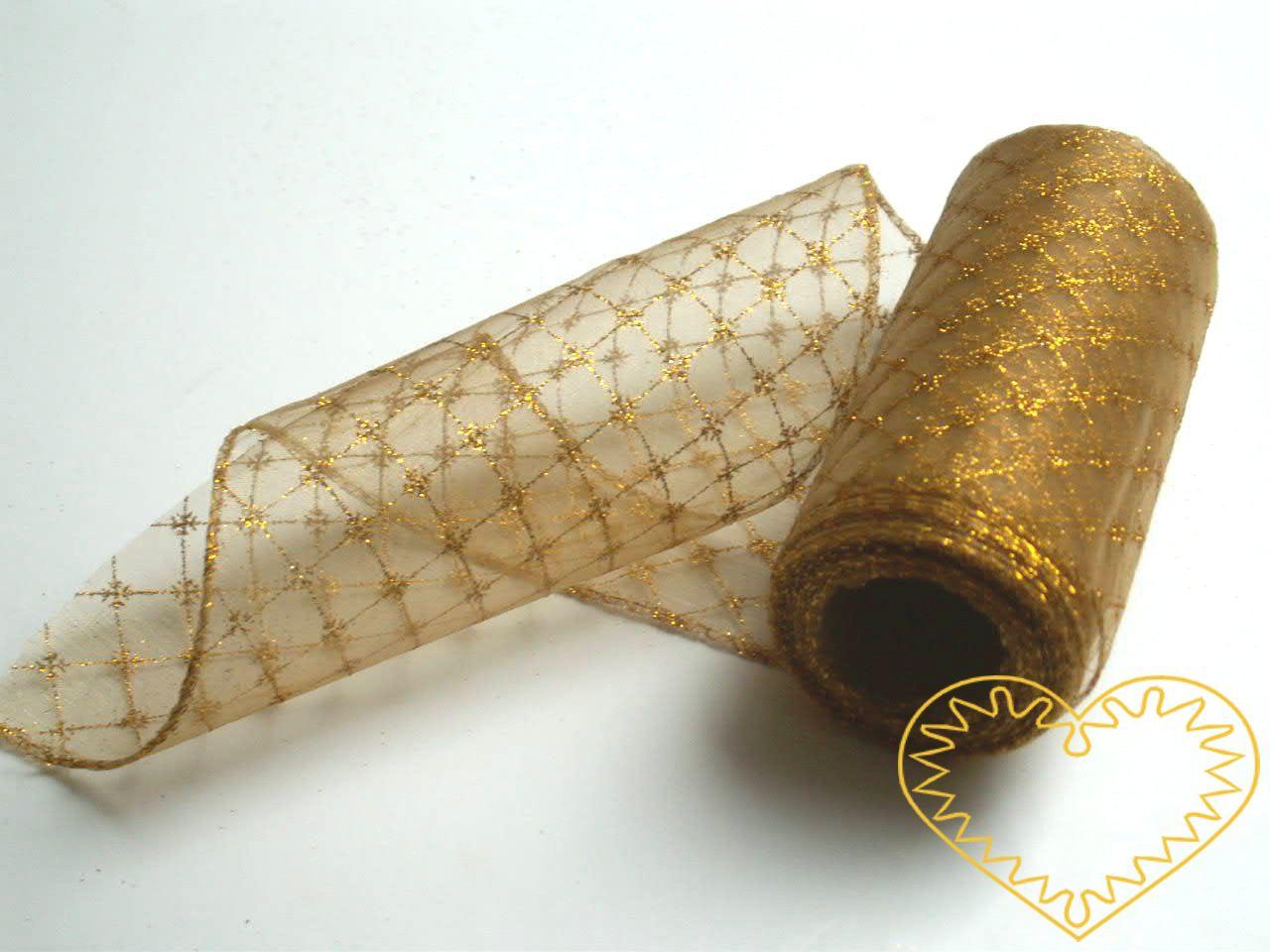 Organza zlatá mřížka - šíře 12 cm, délka 9,14 m, z obou stran obroubená. Vhodná dekorování, šití, aranžování, výzdobu slavnostní tabule, balení dárků, výrobu ozdob, broží apod..