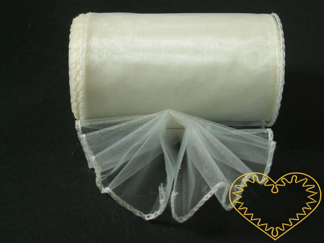 Smetanová organza šíře 10 cm a délky 9,14 m, z obou stran obroubená. Vhodná k dekorování, šití, aranžování, pro výzdobu slavnostní tabule, balení dárků, výrobu ozdob apod.