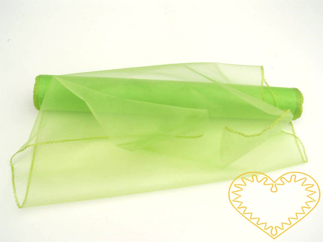 Organza světle zelená - šíře 38 cm, délka 8,22 m, z obou stran obroubená. Organza má široké využítí - k dekoračním účelům, k šití, do květinových aranžmá, pro výzdobu slavnostní tabule, k balení dárků, jako mašle, na výrobu broží i dalších ozdob.