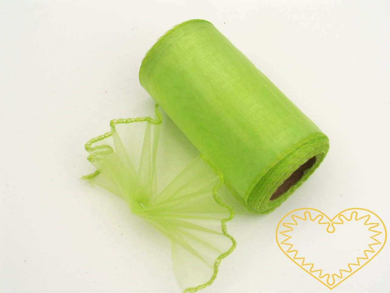 Organza světle zelená - šíře 10 cm, délka 9,14 m, z obou stran obroubená. Organza má široké využítí - k dekoračním účelům, k šití, do květinových aranžmá, pro výzdobu slavnostní tabule, k balení dárků, jako mašle, na výrobu broží i dalších ozdob.