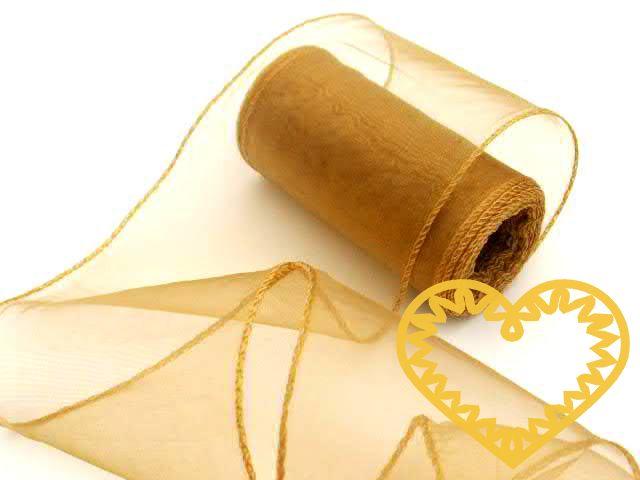 Zlatá organza šíře 10 cm a délky 9,14 m, z obou stran obroubená. Vhodná dekorování, šití, aranžování, výzdobu slavnostní tabule, balení dárků, výrobu ozdob, broží apod.