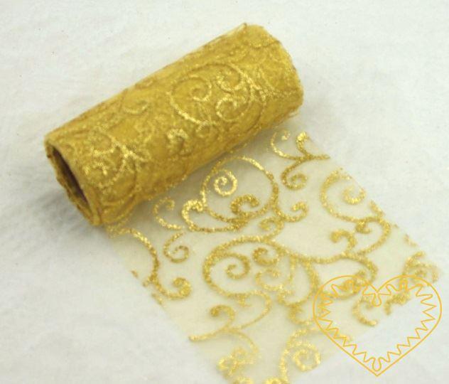 Zlatá organza se vzorem s glitrů- šíře 12 cm. Vhodná k dekorování, šití, aranžování, pro výzdobu slavnostní tabule, balení dárků, výrobu ozdob apod. cena je za 1 balení tj. 9,14 m materiál: 100% polyester Organza má široké využítí - k dekoračním