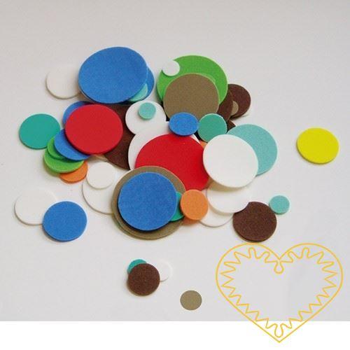 Sada 24 barevných výseků z mechové / pěnové gumy ve tvaru koleček. Pěkný materiál pro předškolní děti, mateřské školy a děti na prvním stupni. Užívá se pro kreativní tvoření, výrobu dekorací, přáníček, koláží, figurek a pod.