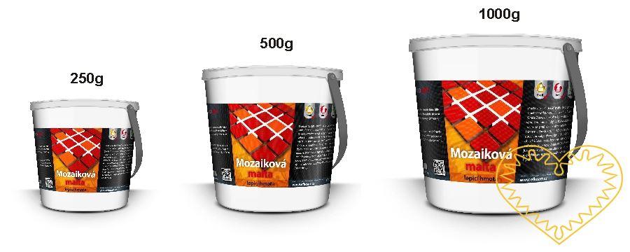 Práškovitá, bílá lepící malta (bez cementu) se s míchá s vodou v poměru 2:1 do husté směsi. (Směs: 2 zarovnané plné čajové lžičky mozaikového cementu a 1 čajová lžička vody). Hotová malta se poté rovnoměrně rozetře měkkým štětcem v tloušťce ca. 1 – 1