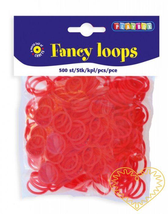 Gumičky loops červené - 500 ks. Gumičky jsou vhodné pro výrobu náramků, přívěsků i dalších šperků.