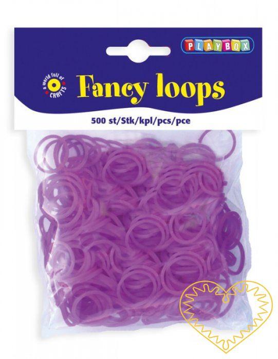 Gumičky loops fialové - 500 ks. Gumičky jsou vhodné pro výrobu náramků, přívěsků i dalších šperků.