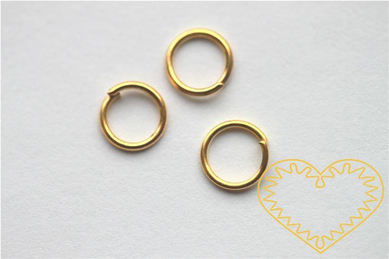 Zlatý spojovací kroužek ø 6 mm - 50 g (cca 800 - 900 ks). Spojovací kroužky využijete při výrobě rozličných šperků - náuštnic, náramků, náhrdelníků, čelenek nebo i prstýnků.