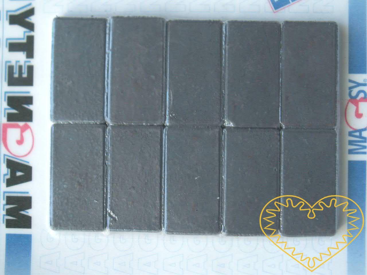 Sada 10 kusů obdélných magnetů 15 x 28 mm. Vhodné na magnetickou tabuli, nástěnku, flipchart či doma na lednici. Lze je využít jako základ pro tvorbu vlastních originálních magnetů.
