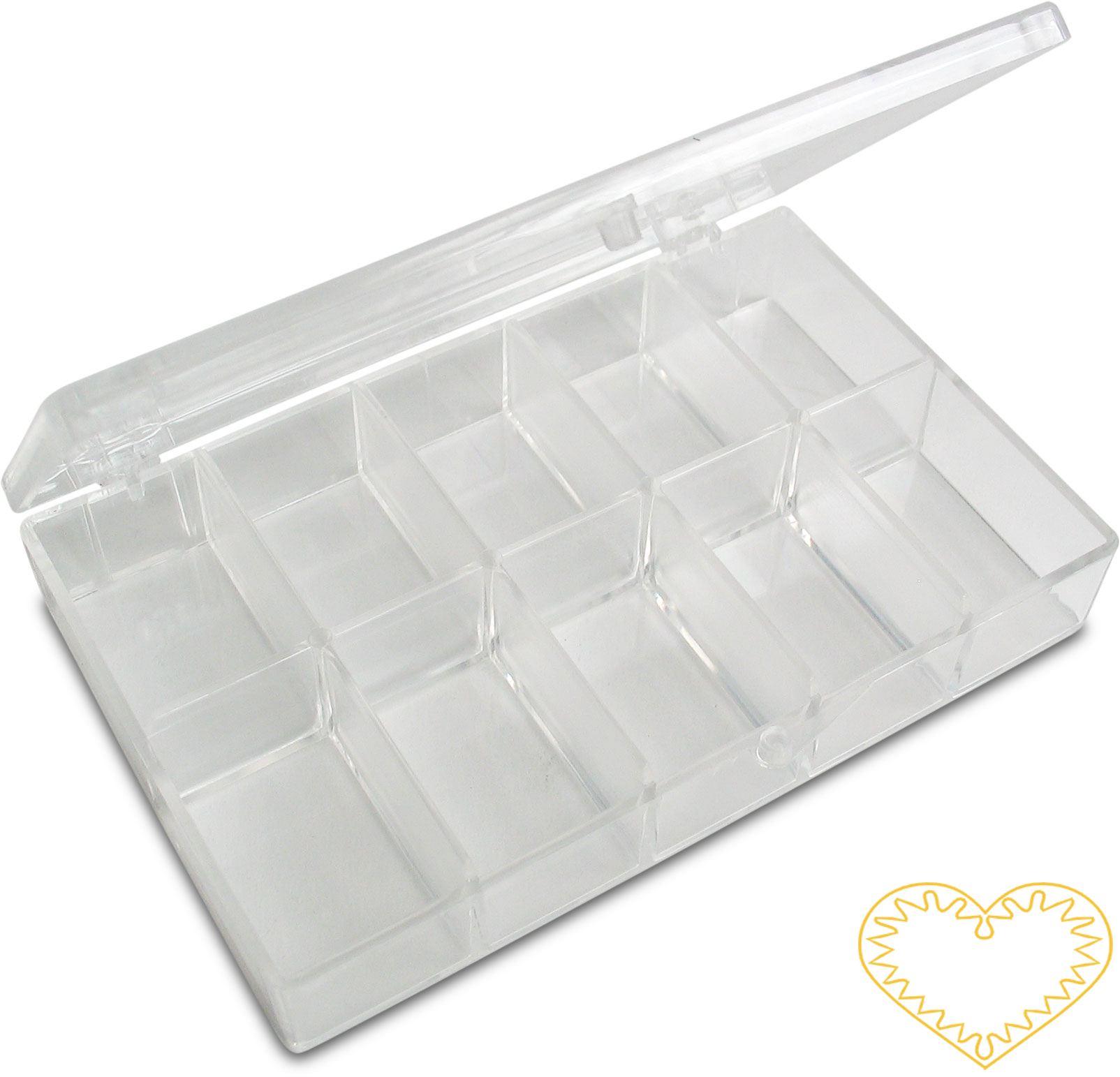 Plastový otevírací zásobník - krabička na korálky. Rozměr boxu: 120 x 75 x 22 mm. V boxu je ve dvou řadách po pěti příhrádkách, tedy celkem 10 ks.