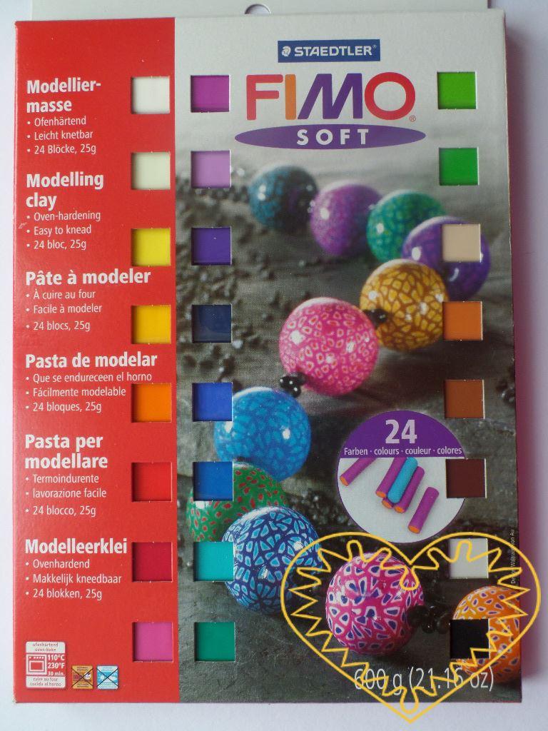 Fimo soft sada - obsahuje 24 barev. Celková hmotnost sady je 600 g. Hmota Fimo soft je tvárná a měkká, spojením barev se snadno se dají namíchat další odstíny. Po rozbalení můžete hned modelovat. Vaše výrobky vytvrdíte v domácí troubě. Sada obsahuje