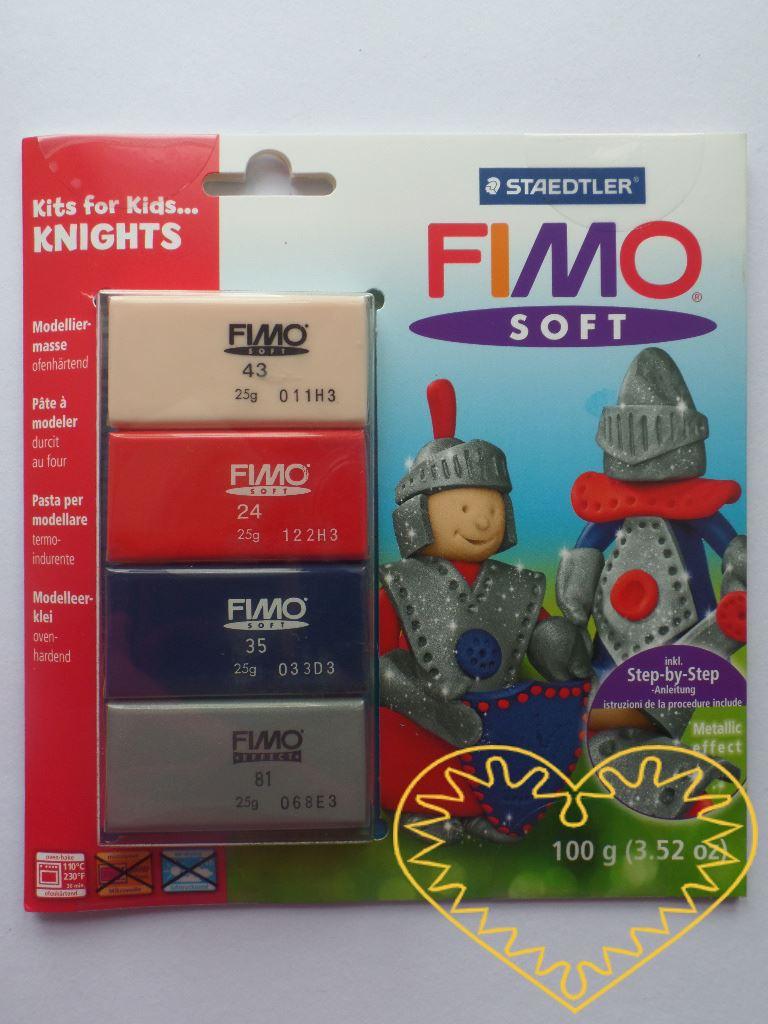 Fimo soft sada Knights - rytíři. Obsahuje 4 barvy (4 x 25 g) modelovací hmoty a obrázkový návod, dle nějž snadno vytvoříte rytíře nebo i jiné věci. Hmota Fimo soft je tvárná a měkká, spojením barev se snadno dají namíchat další odstíny. Po rozbalení