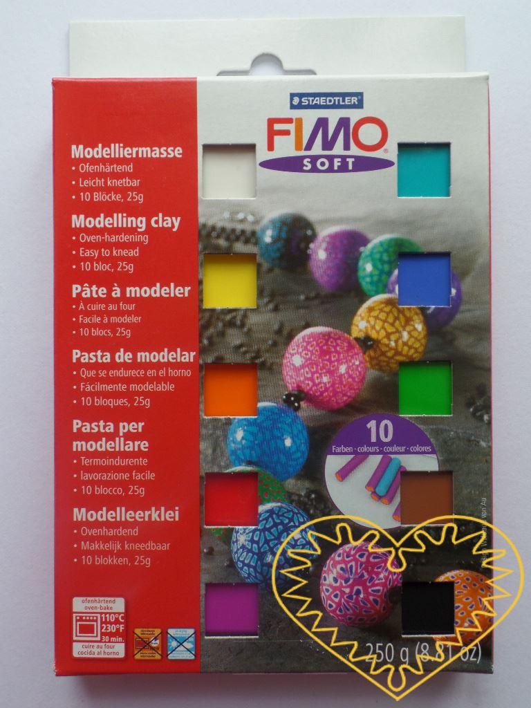 Fimo soft sada - obsahuje 10 jasných barev. Hmota Fimo soft je tvárná a měkká, spojením barev se snadno se dají namíchat další odstíny. Po rozbalení můžete hned modelovat. Vaše výrobky vytvrdíte v domácí troubě. Sada obsahuje 10 polo bloků FIMO Soft
