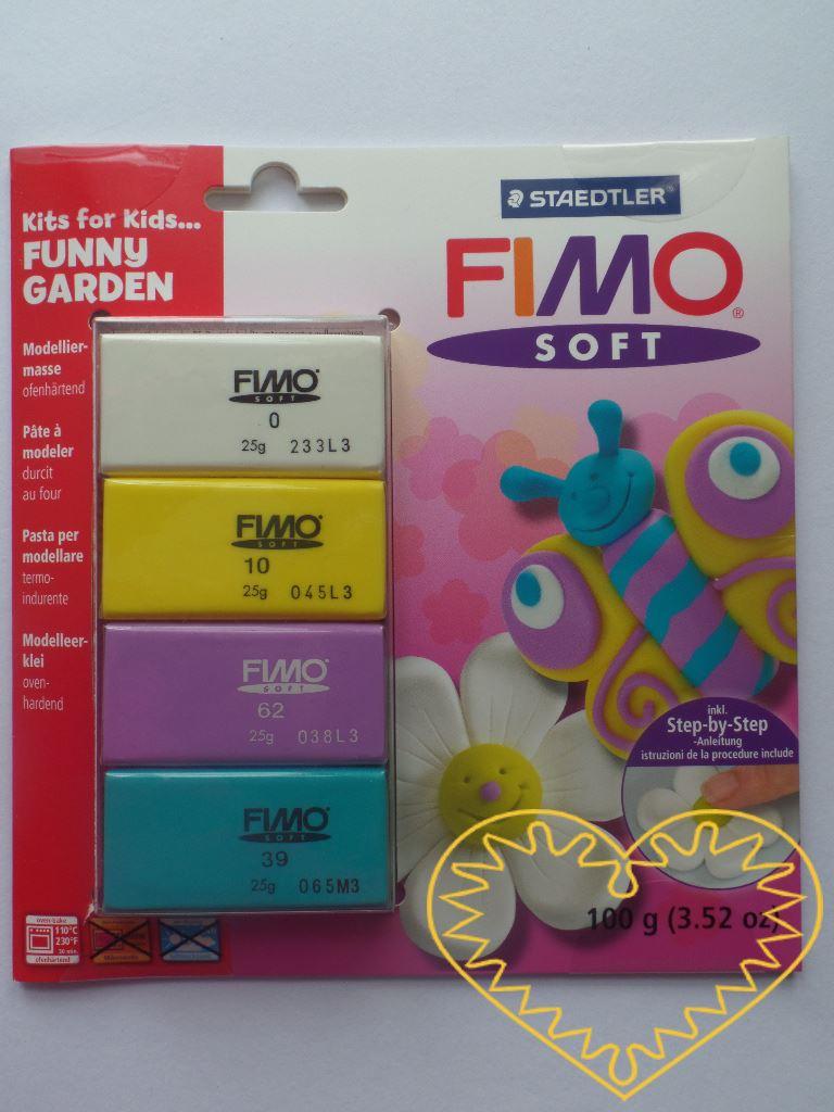 Fimo soft sada Funny Garden - veselá zahrada. Obsahuje 4 barvy (4 x 25 g) modelovací hmoty a obrázkový návod, dle nějž snadno vytvoříte motýlka, kytičku nebo i jiné věci, které do zahrady patří. Hmota Fimo soft je tvárná a měkká, spojením barev se sn