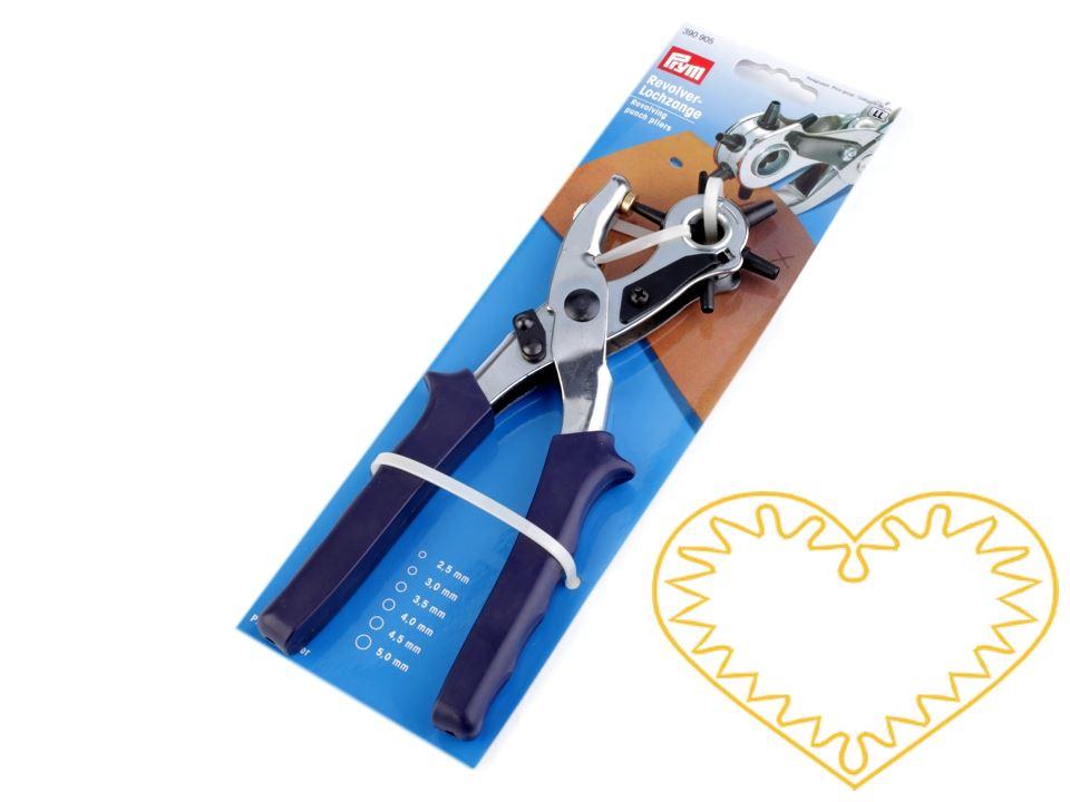Děrovací kleště jsou skvělým univerzálním pomocníkem při děrování. Oceníte je hlavně při práci s kůží, například na opasky, tašky, popruhy ke kabelkám apod. U kleští můžete nastavit až 6 velikostí děrování s průměry 2,5 mm, 3 mm, 3,5 mm, 4 mm, 4,5 mm