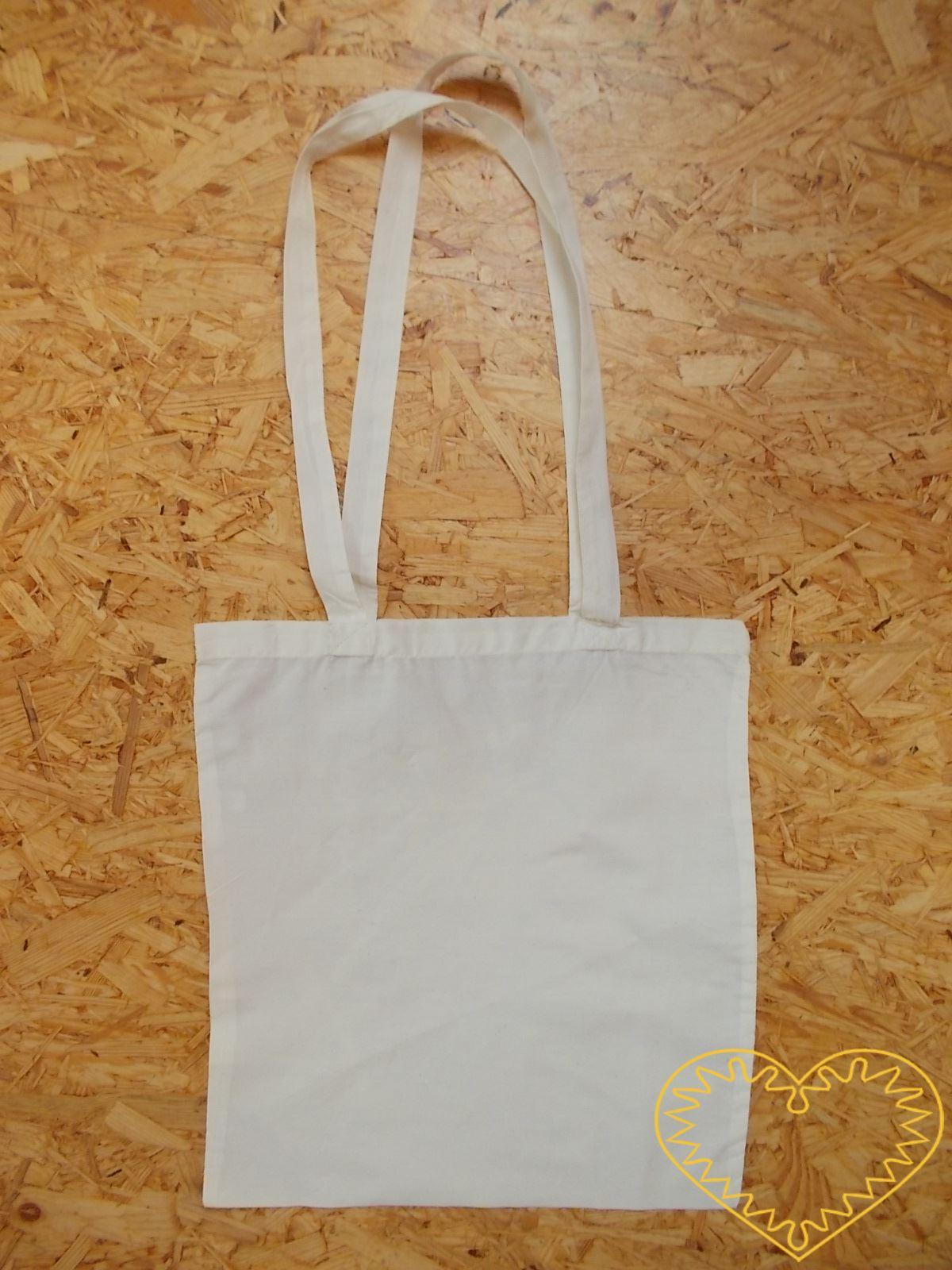 Velká plátěná bílá taška s dvěma uchy k pohodlnému nošení. Taška je vhodná pro potisk, malování a jiné techniky. Lze na ni malovat texilními barvami (i nafukovacími), fixy na textil, textilními voskovkami. Můžete použít i nejrůznější šablony. Vhodné